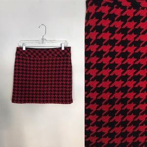 Navy and Red Houndstooth Mini Skirt Size 4
